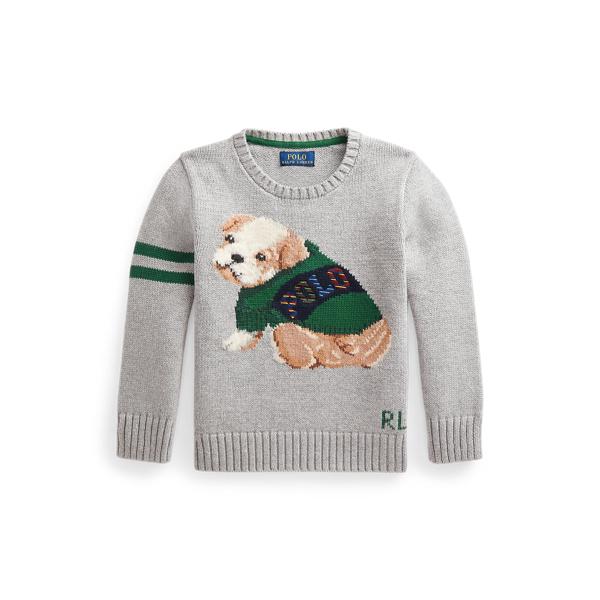 폴로 랄프로렌 Polo Ralph Lauren Intarsia Dog Cotton Wool Sweater,Andover Heather
