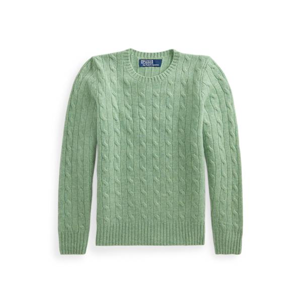 폴로 랄프로렌 Polo Ralph Lauren Cable Knit Cashmere Sweater,Seafoam Heather