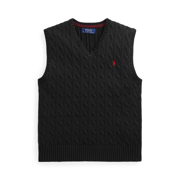 폴로 랄프로렌 Polo Ralph Lauren Cable Knit Cotton Sweater Vest,Polo Black