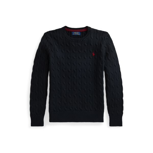 폴로 랄프로렌 Polo Ralph Lauren Cable Knit Cotton Sweater,Polo Black