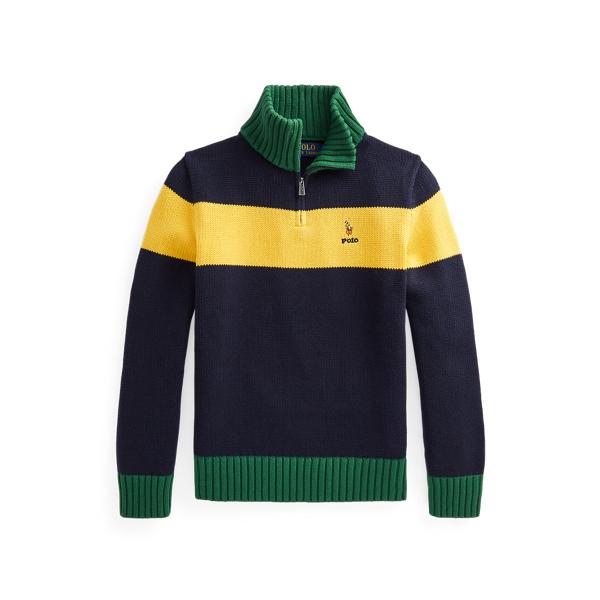 폴로 랄프로렌 보이즈 집업 스웨터 Polo Ralph Lauren Cotton Quarter Zip Sweater,RL Navy Multi