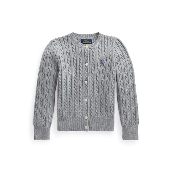 폴로 랄프로렌 여아용 미니 꽈배기 코튼 가디건 Polo Ralph Lauren Mini Cable Cotton Cardigan,Classic Grey Heather