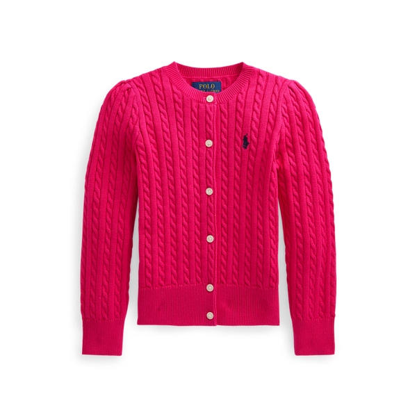 폴로 랄프로렌 여아용 미니 꽈배기 코튼 가디건 Polo Ralph Lauren Mini Cable Cotton Cardigan,Sport Pink