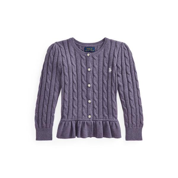 폴로 랄프로렌 여아용 꽈배기 코튼 페플럼 가디건 Polo Ralph Lauren Cable Cotton Peplum Cardigan,Purple Heather