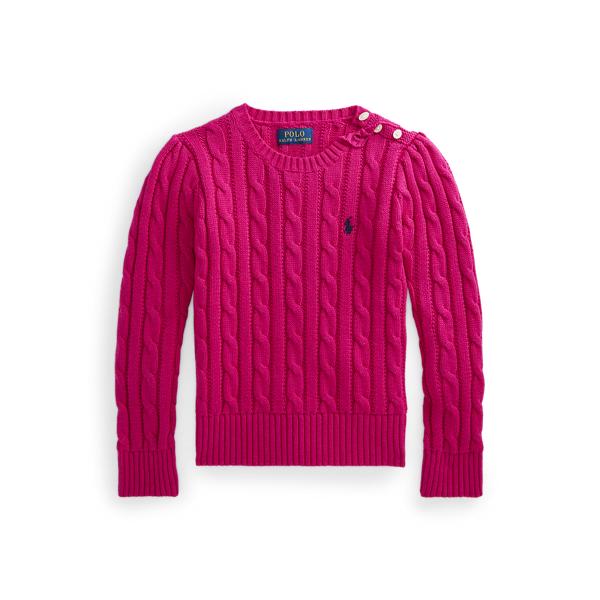 폴로 랄프로렌 여아용 꽈배기 니트 코튼 스웨터 Polo Ralph Lauren Cable Knit Cotton Sweater,Sport Pink