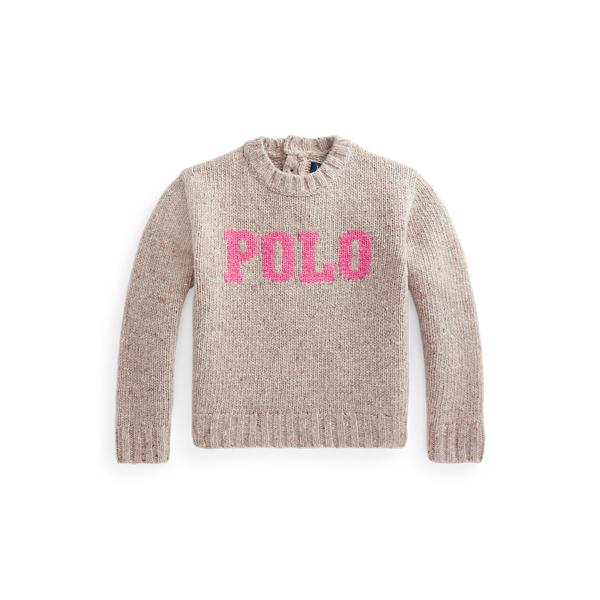 폴로 랄프로렌 여아용 로고 울 스웨터 Polo Ralph Lauren Logo Wool Crewneck Sweater,Tan/Pink