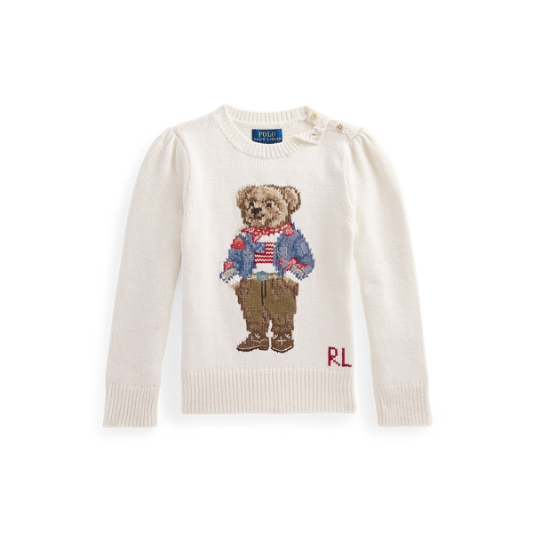 폴로 랄프로렌 여아용 폴로 베어 스웨터 Polo Ralph Lauren Polo Bear Cotton Sweater,Clubhouse Cream
