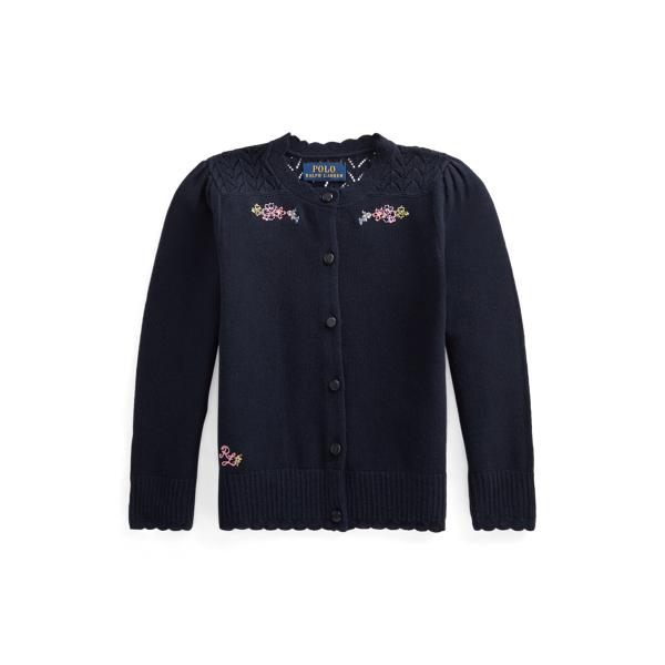폴로 랄프로렌 여아용 포인텔 니트 코튼 가디건 Polo Ralph Lauren Pointelle Knit Cotton Cardigan,RL Navy