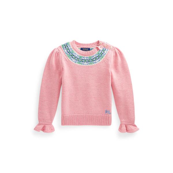 폴로 랄프로렌 여아용 페어아일 울 스웨터 Polo Ralph Lauren Fair Isle Wool Blend Sweater,Desert Rose Heather