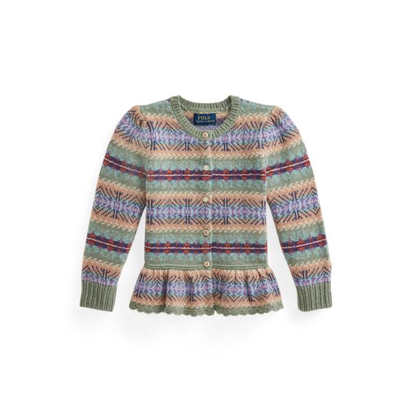 폴로 랄프로렌 여아용 페어아일 페플럼 가디건 Polo Ralph Lauren Fair Isle Wool Blend Peplum Cardigan,Greenery Heather Multi