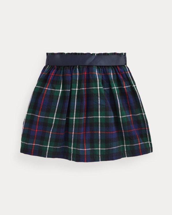 Plaid Cotton Twill Skirt
