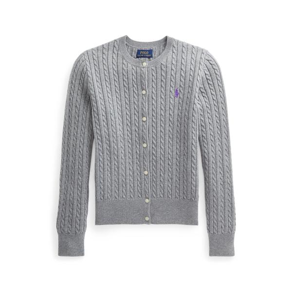 폴로 랄프로렌 걸즈 미니 꽈배기 코튼 가디건 Polo Ralph Lauren Mini Cable Cotton Cardigan,Classic Grey Heather