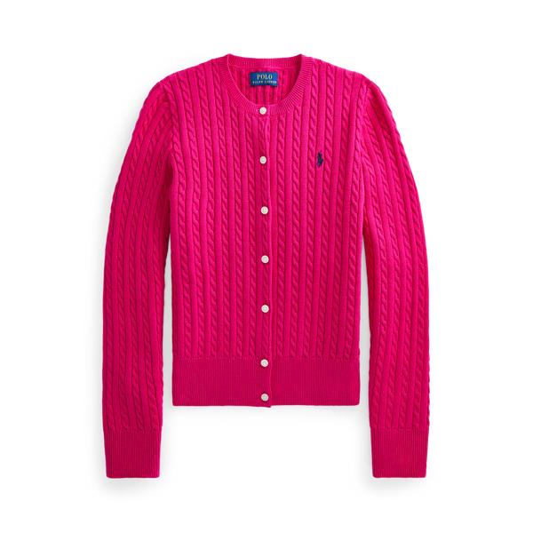 폴로 랄프로렌 걸즈 미니 꽈배기 코튼 가디건 Polo Ralph Lauren Mini Cable Cotton Cardigan,Sport Pink