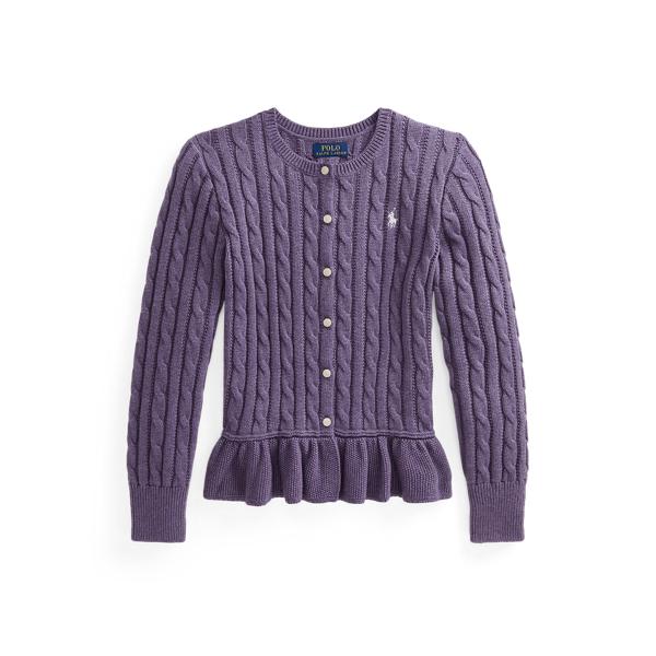 폴로 랄프로렌 걸즈 페플럼 가디건 Polo Ralph Lauren Cotton Peplum Cardigan,Purple Heather