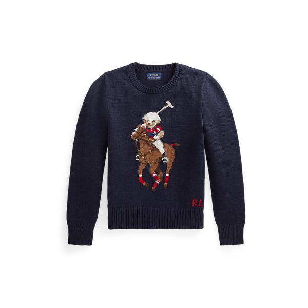폴로 랄프로렌 걸즈 폴로 베어 스웨터 Polo Ralph Lauren Polo Bear Cotton Wool Sweater,RL Navy