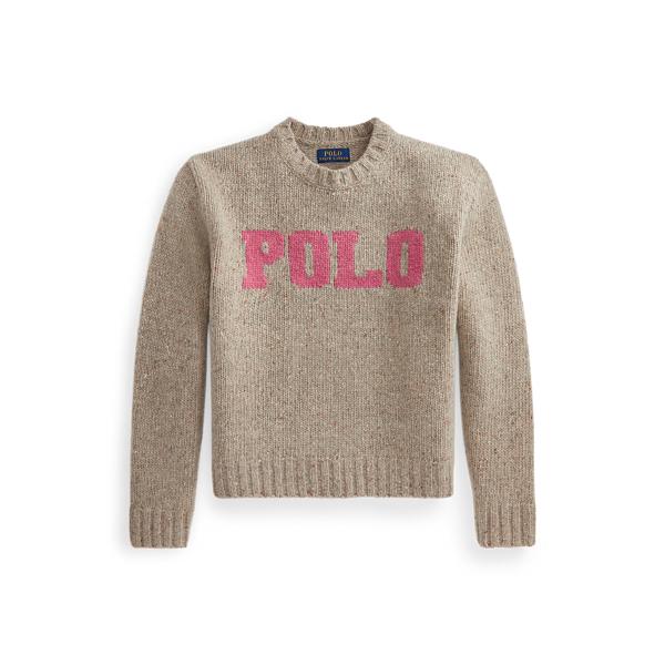 폴로 랄프로렌 걸즈 로고 울 스웨터 Polo Ralph Lauren Logo Wool Blend Sweater,Tan/Pink