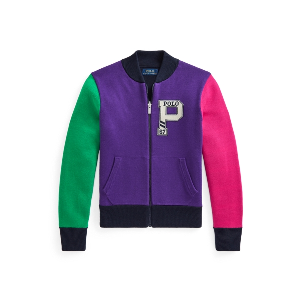 폴로 랄프로렌 걸즈 리버서블 집업 스웨터 Polo Ralph Lauren Reversible Cotton Full Zip Sweater,RL Navy Multi