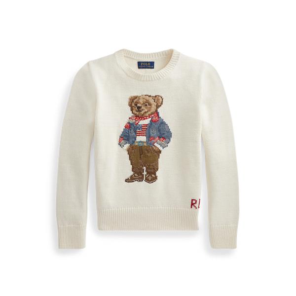 폴로 랄프로렌 걸즈 폴로 베어 스웨터 Polo Ralph Lauren Polo Bear Cotton Sweater,Clubhouse Cream