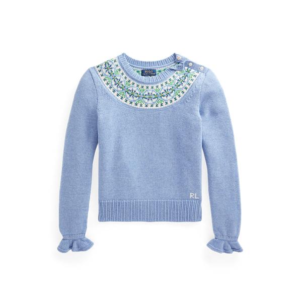 폴로 랄프로렌 걸즈 페어아일 스웨터  Polo Ralph Lauren Fair Isle Cotton Blend Sweater,Campus Blue Heather