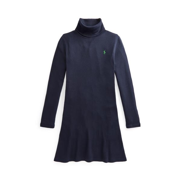 Robe côtelée col roulé en modal et coton