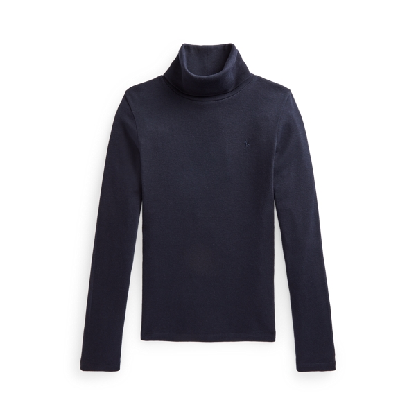폴로 랄프로렌 걸즈 터틀넥 스웨터 Polo Ralph Lauren Ribbed Cotton Blend Turtleneck, Hunter Navy