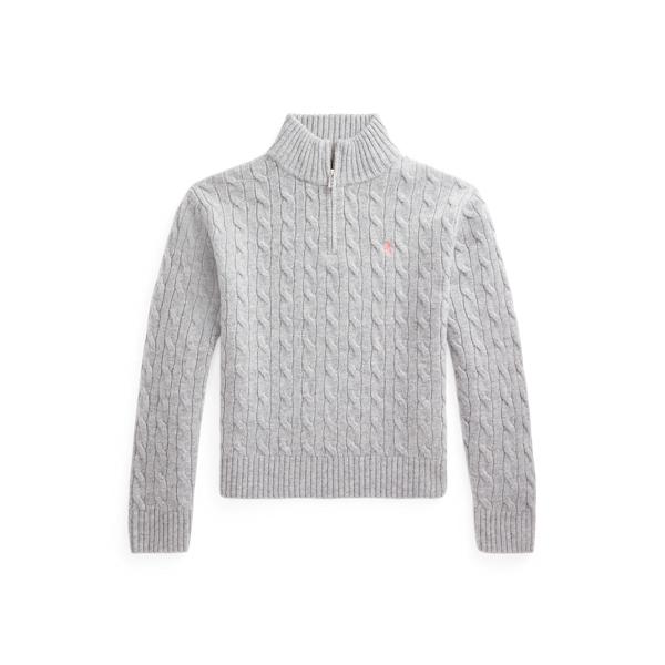 폴로 랄프로렌 걸즈 꽈배기 니트 쿼터집 스웨터 Polo Ralph Lauren Cable Knit Wool Quarter Zip Sweater,Andover Heather