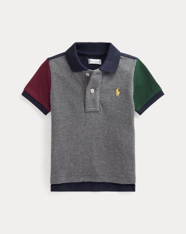 Color-Blocked Cotton Mesh Polo Shirt