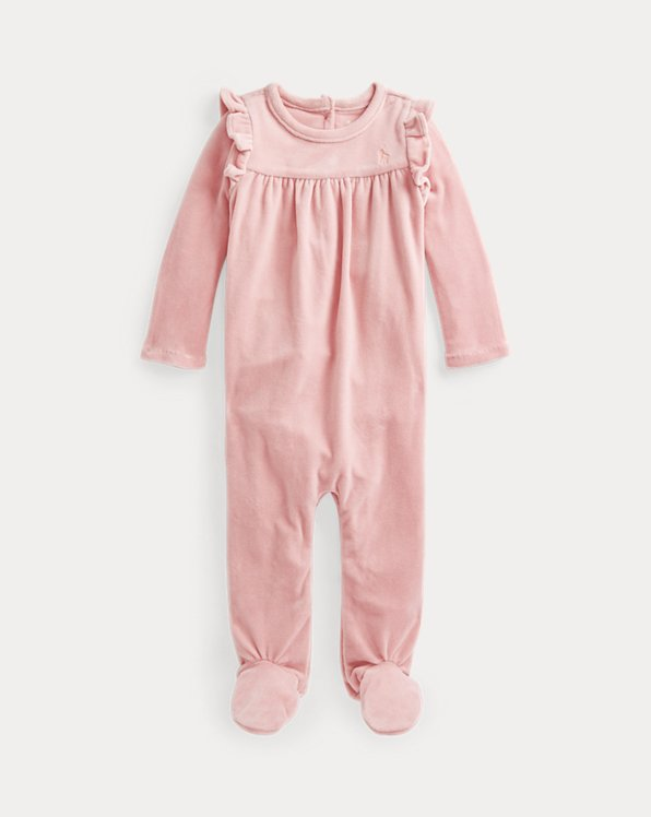 Ruffled Velour Footed Coverall