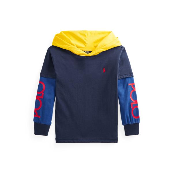 Polo Ralph Lauren Kids' Logo Cotton Hooded Tee In Blue