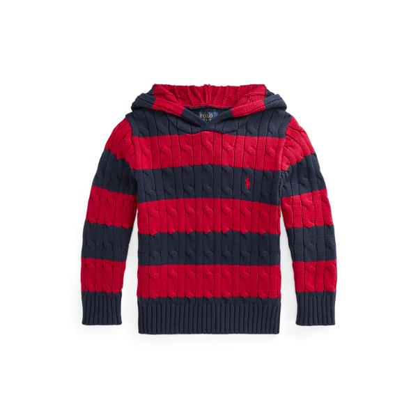 폴로 랄프로렌 Polo Ralph Lauren Striped Cotton Hooded Sweater,Park Ave Red Multi
