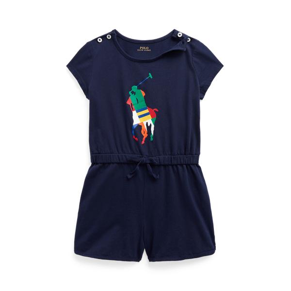 Polo Ralph Lauren Kids' Big Pony Cotton Jersey Romper In Blue