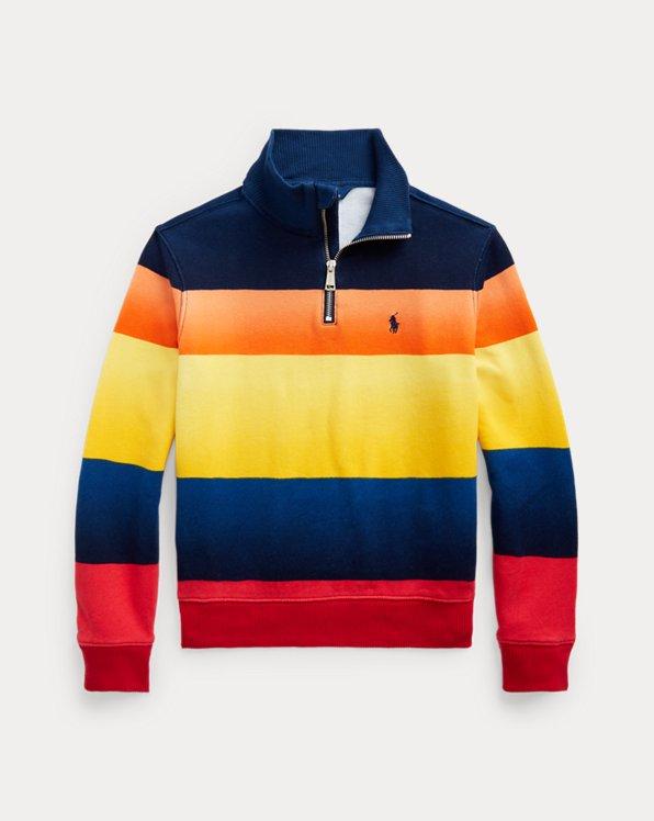 Striped Fleece Quarter-Zip Pullover
