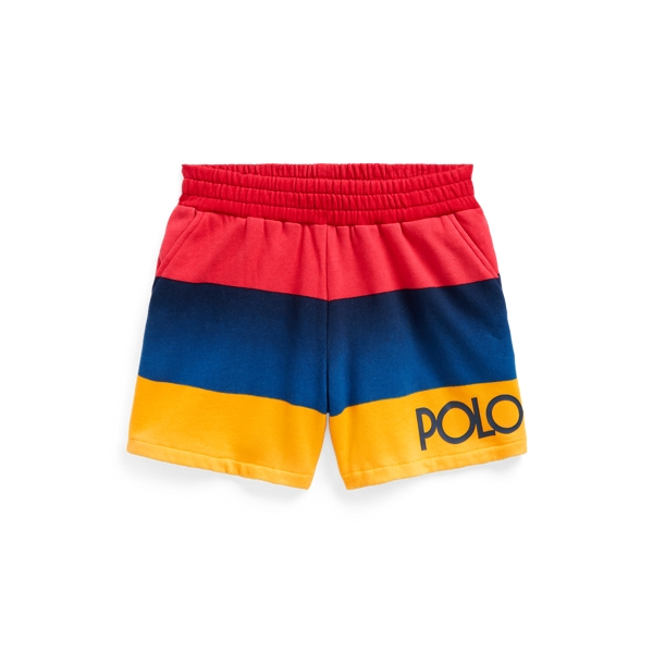 Polo Ralph Lauren Kids' Logo Striped Fleece Short In Active Royal Multi
