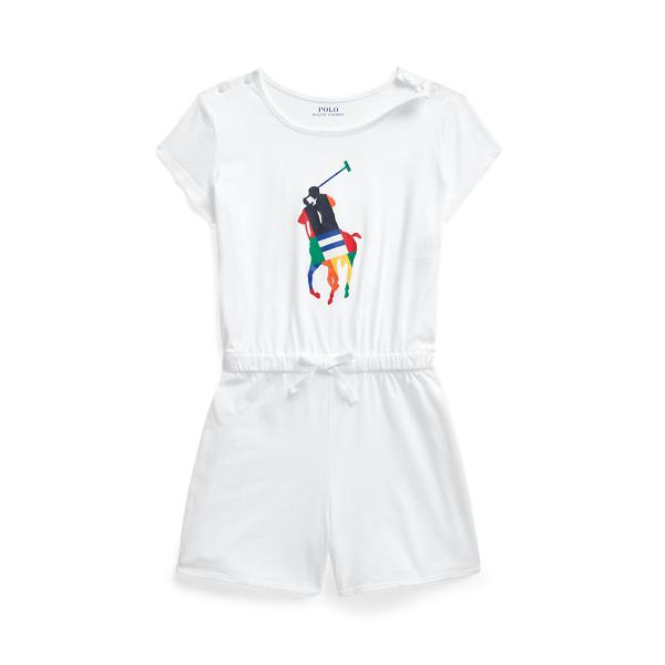 Polo Ralph Lauren Kids' Big Pony Cotton Jersey Romper In White