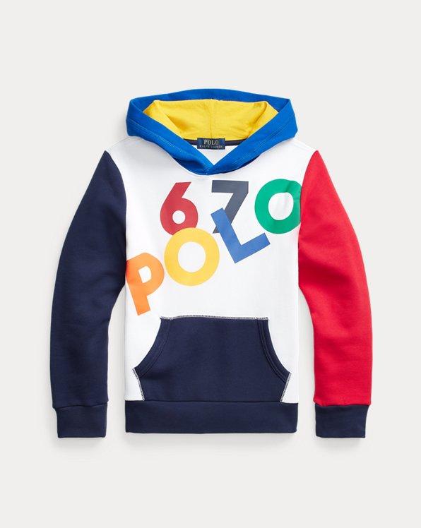 Colour-Blocked Logo Fleece Hoodie