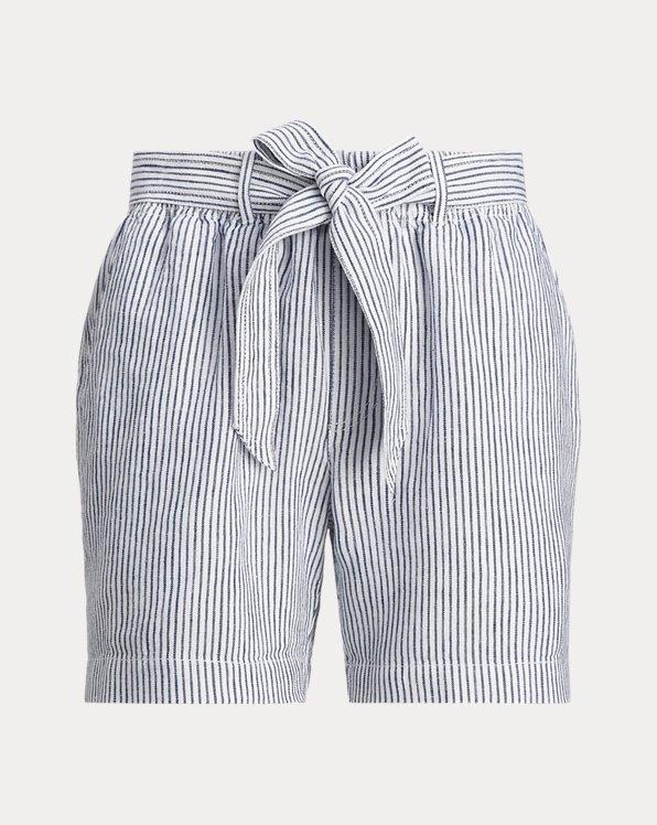 Striped Linen Belted Short