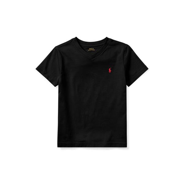 Polo Ralph Lauren Kids' Cotton Jersey V-neck Tee In Rl Black