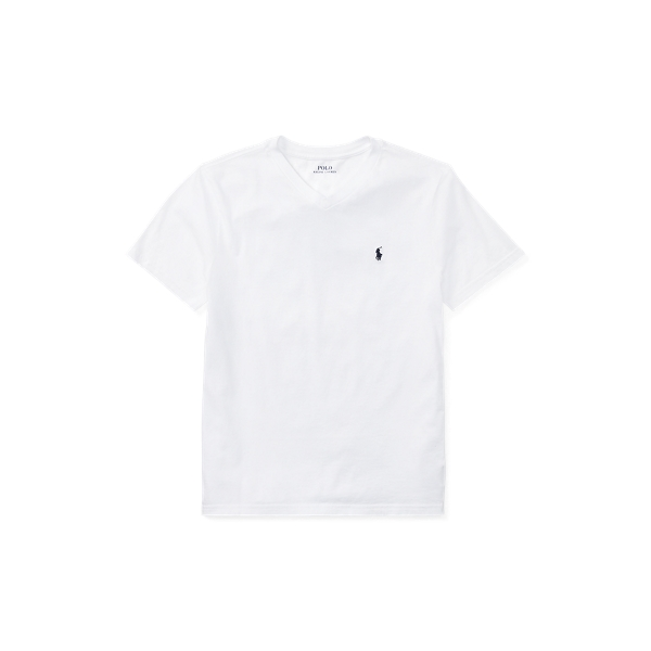 Polo Ralph Lauren Kids' Cotton Jersey V-neck Tee In White