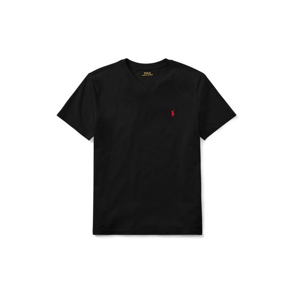 Polo Ralph Lauren Kids' Cotton Jersey V-neck Tee In Black