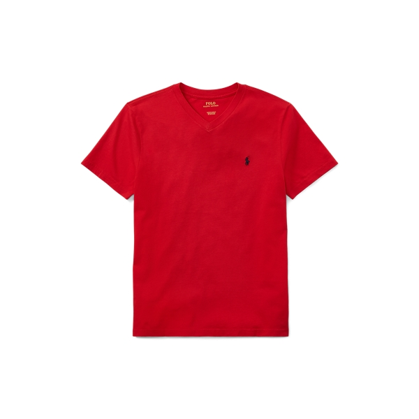 Polo Ralph Lauren Kids' Cotton Jersey V-neck Tee In Red