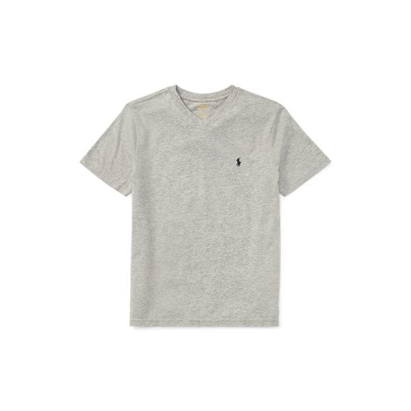 Polo Ralph Lauren Kids' Cotton Jersey V-neck Tee In Gray