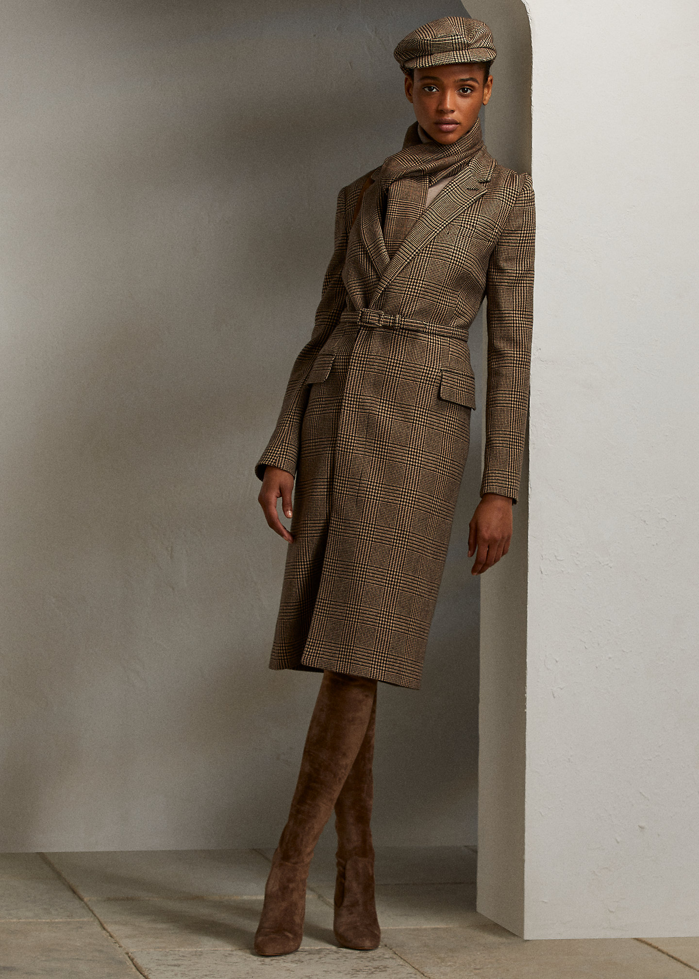 Ralph Lauren Collection Antonella Wool Glen Plaid Day Dress 1
