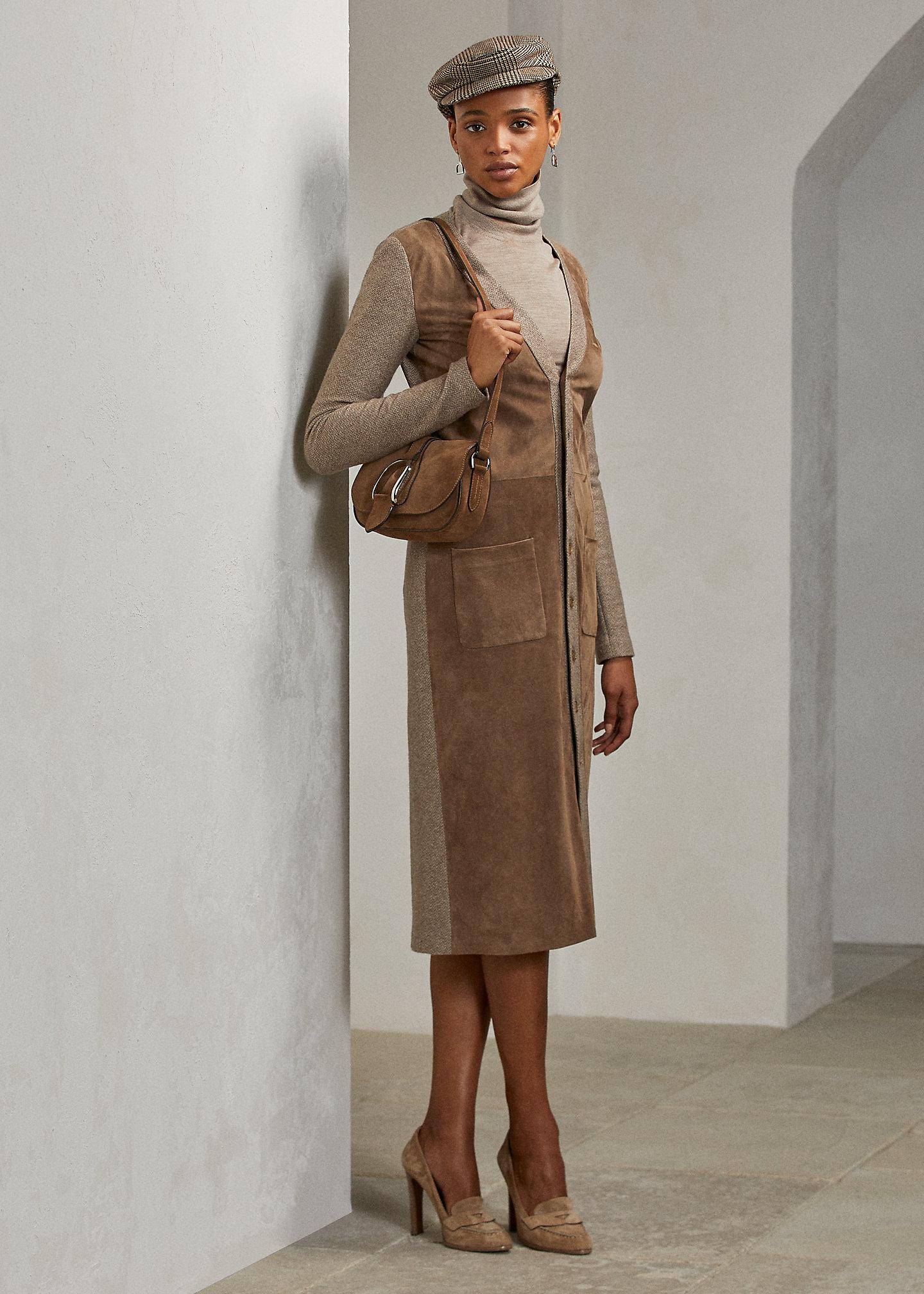 Ralph Lauren Collection Alivia Lamb-Suede Day Dress 1