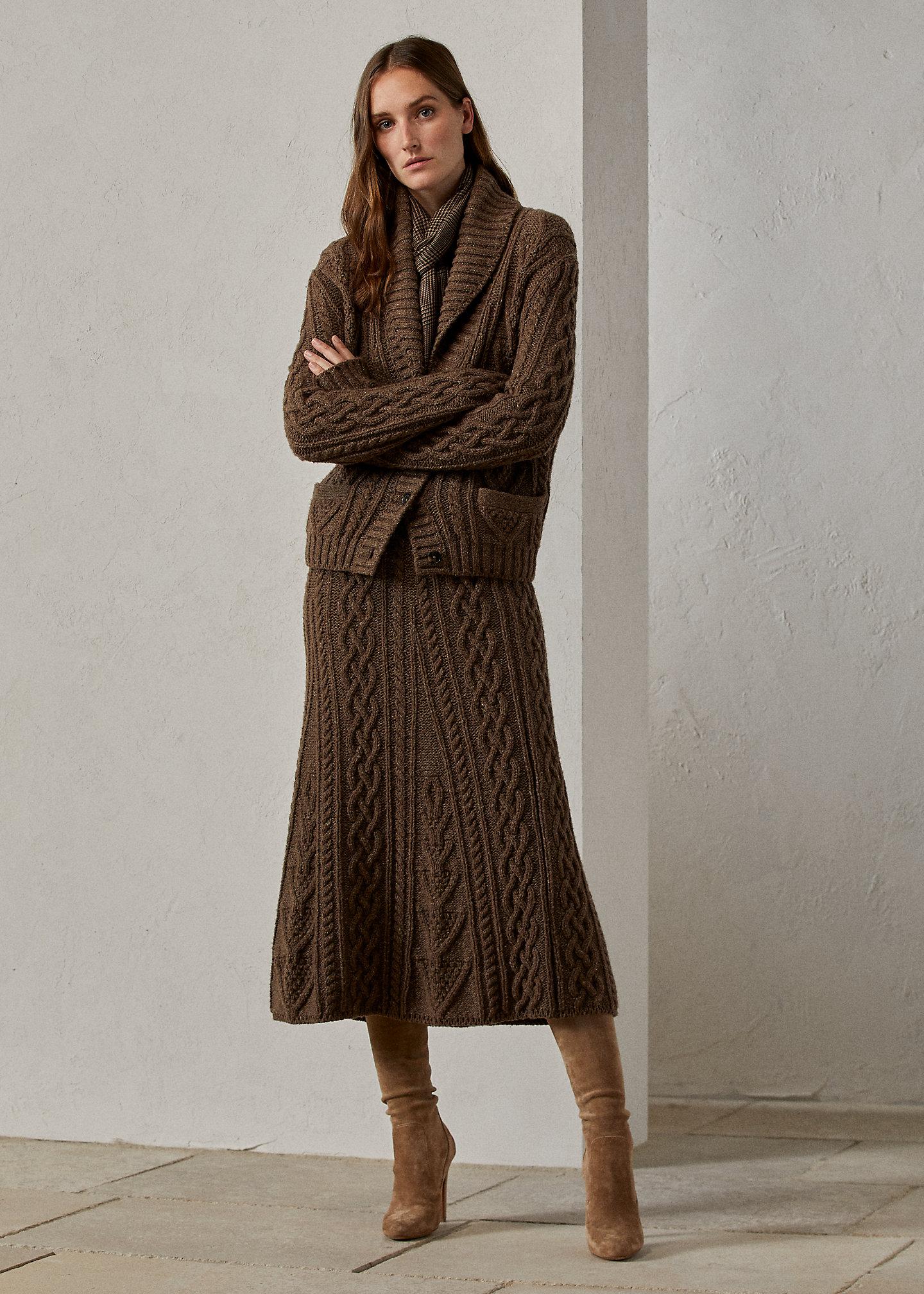 Ralph Lauren Collection Cashmere Aran-Knit Sweater Skirt 1