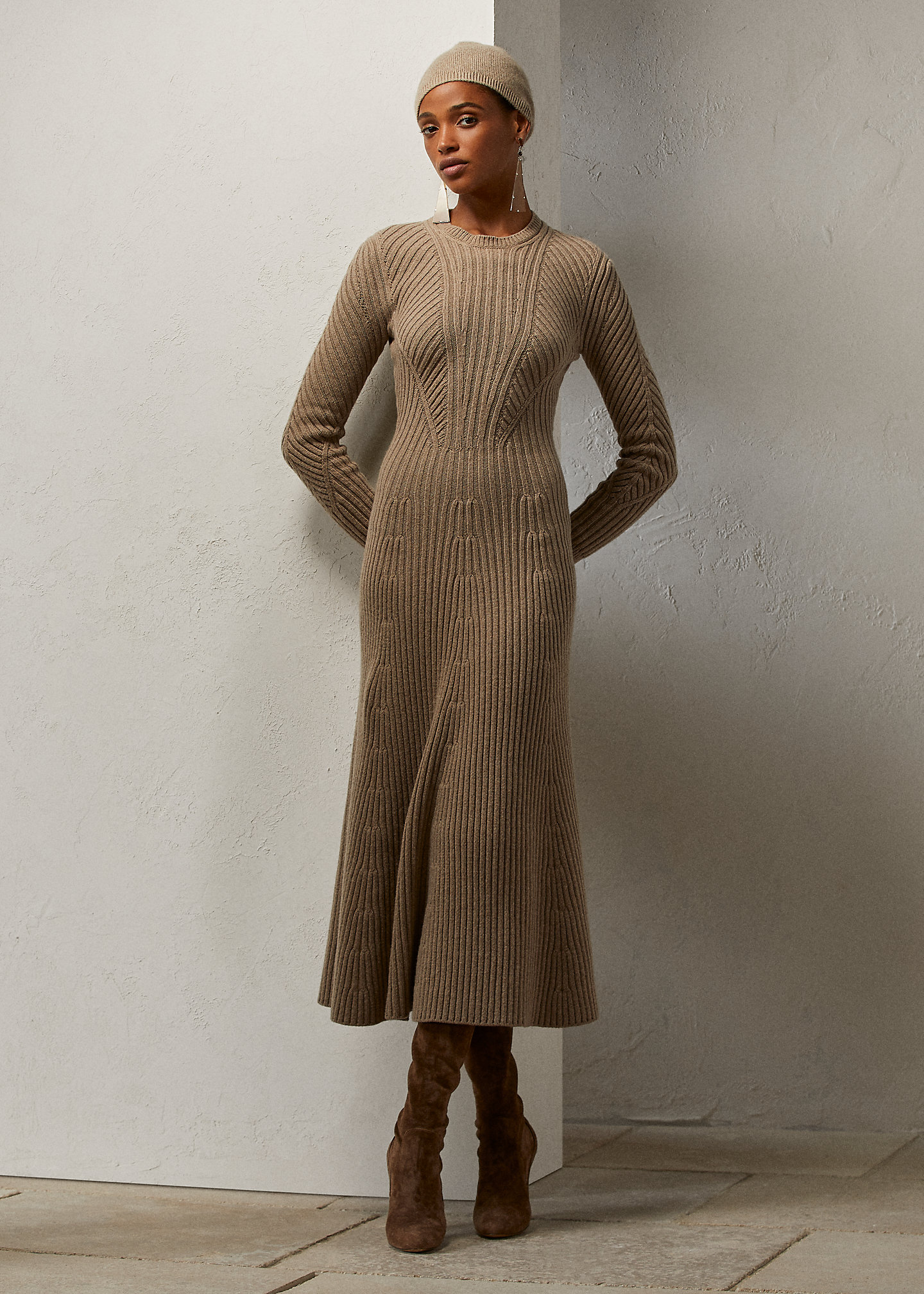 Ralph Lauren Collection Ribbed Cashmere-Wool Sweater Day Dress 1