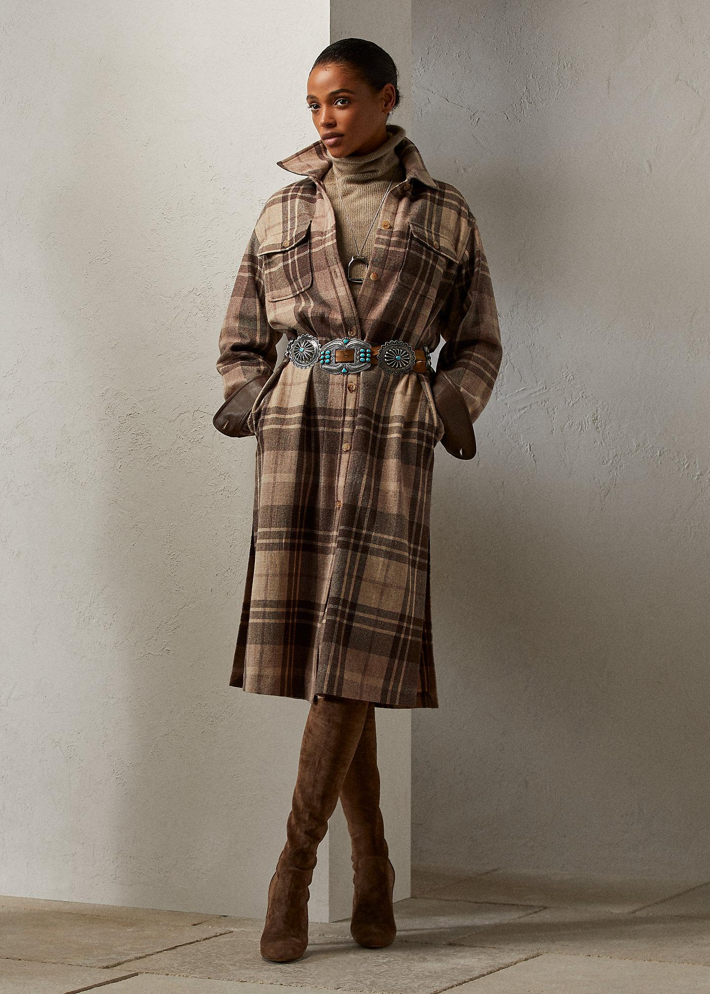 Ralph Lauren Collection Skylar Plaid Wool-Cashmere Day Dress 1