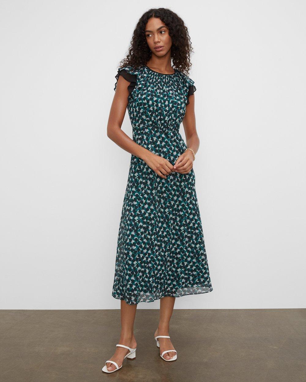Clubmonaco Drape Flutter Sleeve Printed Maxi Dress