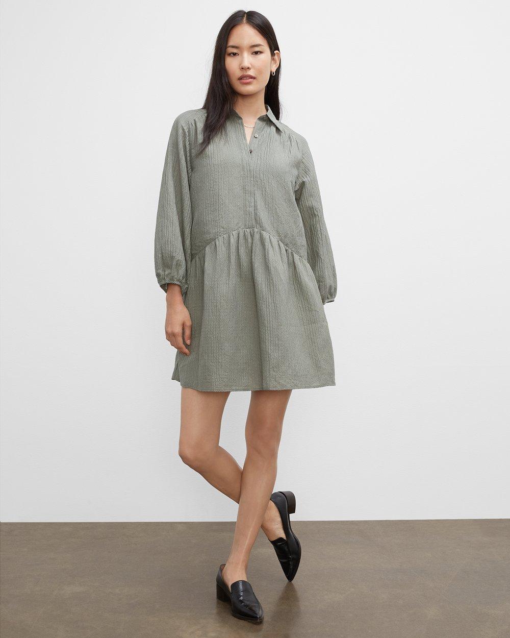 Clubmonaco Puff Sleeve Mini Shirt Dress