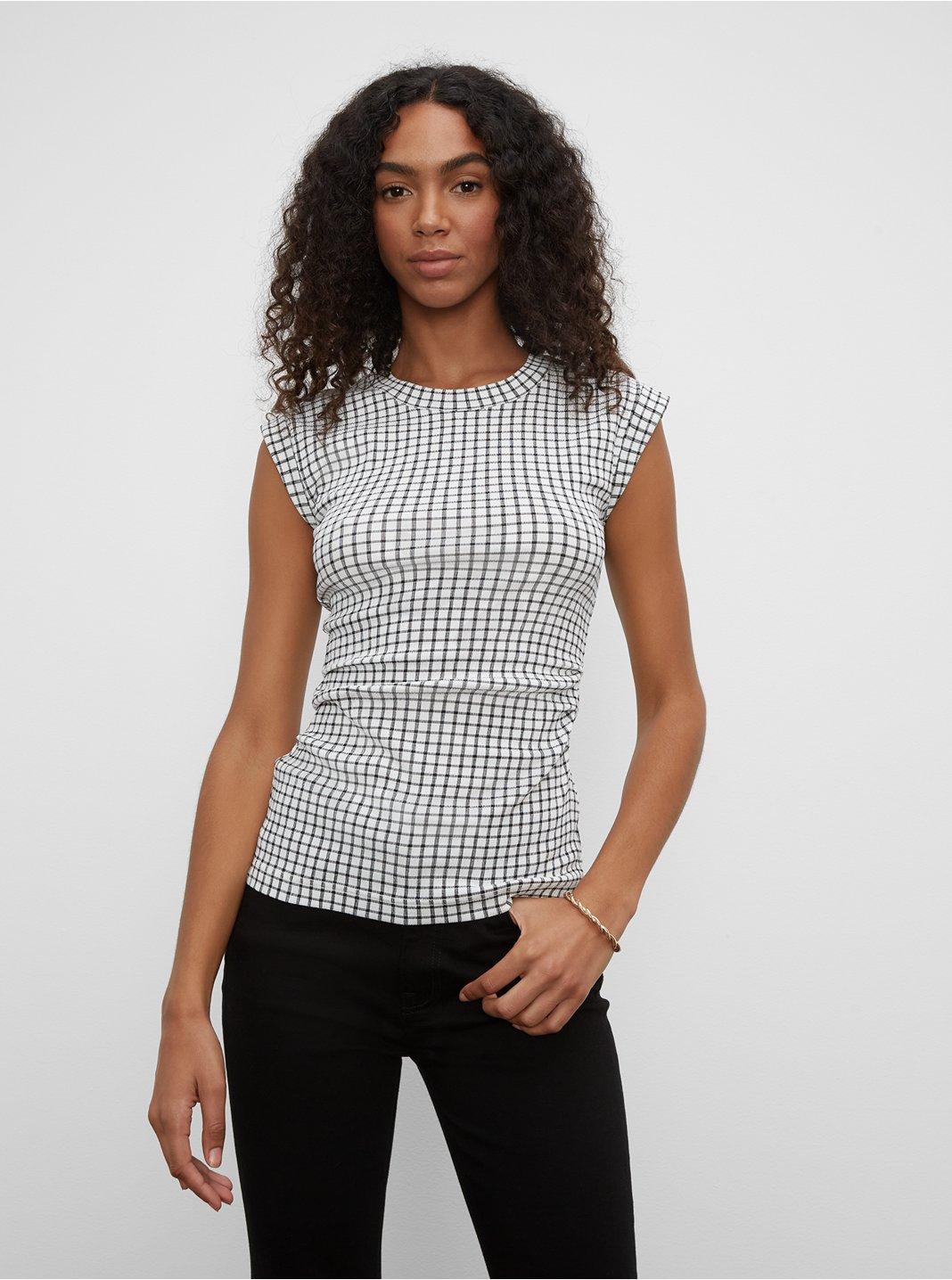 클럽 모나코 텍스쳐드 주름 장식 탑 Club Monaco Textured Ruched Top,Black/White