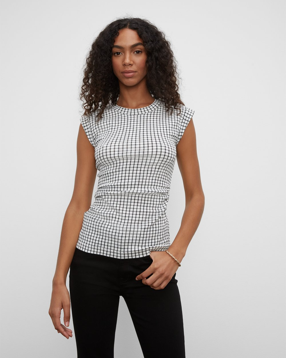 Clubmonaco Textured Ruched Top